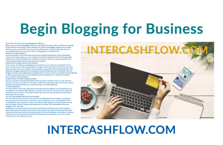 Begin Blogging For Business
